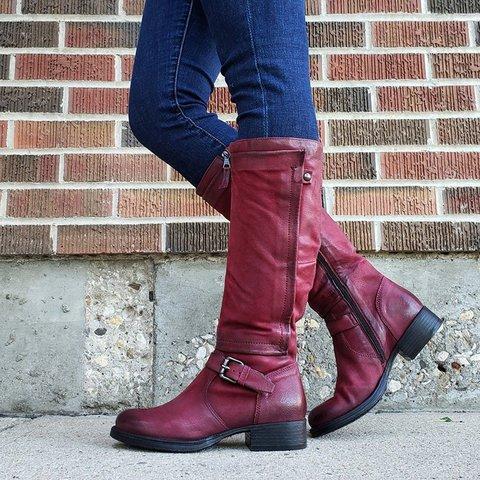 Women's Vintage Buckle Zipper Boots