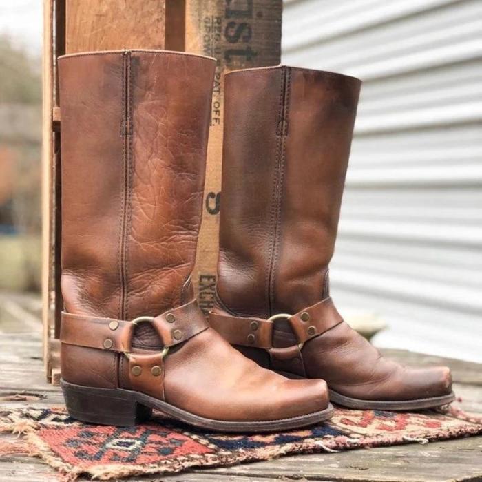 Vintage Slip-on Mid-Calf Chunky Heel Square Toe Cowboy Boots