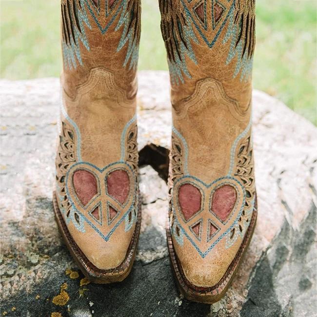 Openwork Heart Wings Leather Western Boot