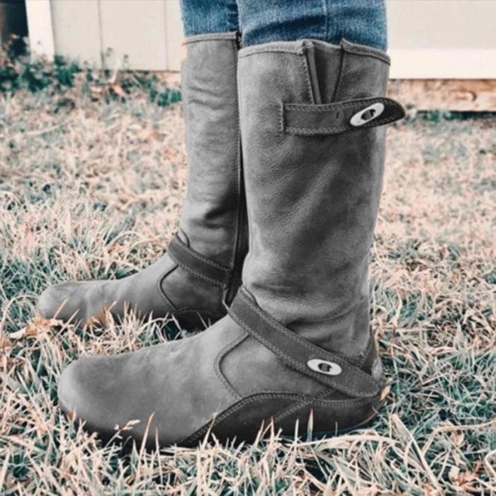 Fashion Round Toe Knee-High Zipper Boots