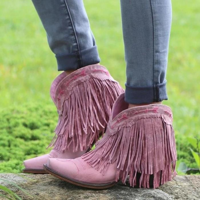 Women'S Fringe Ankle Casual Low Heel Boots