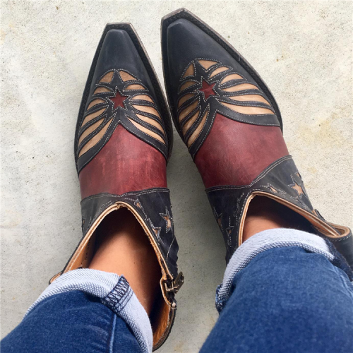 Vintage Star Cowboy Ankle Boots
