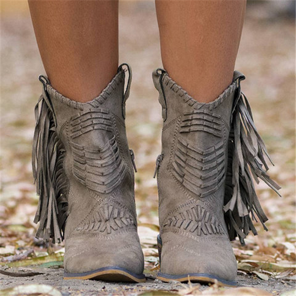 Fringe Leather Women Boots
