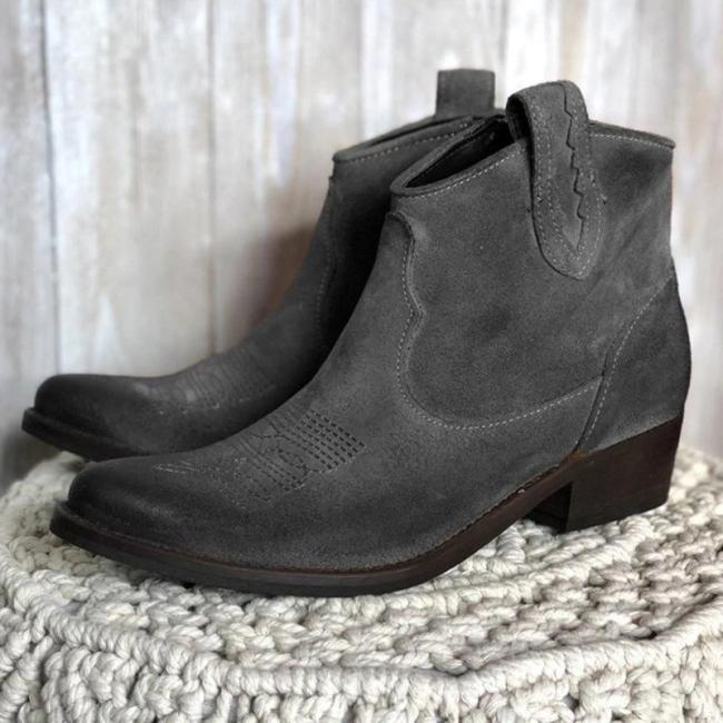 Womens Vintage Slip-on PU Ankle Boots