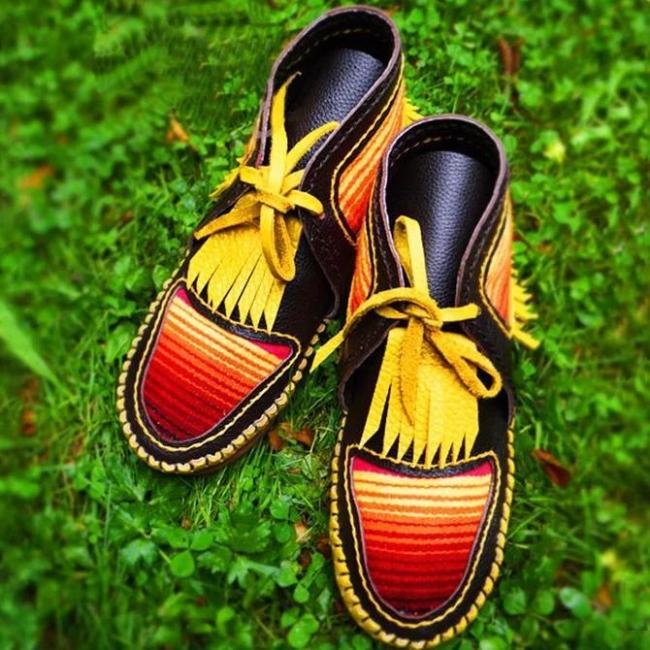 Black-Yellow Seaside Artificial Leather Flat Heel Tassel Boots