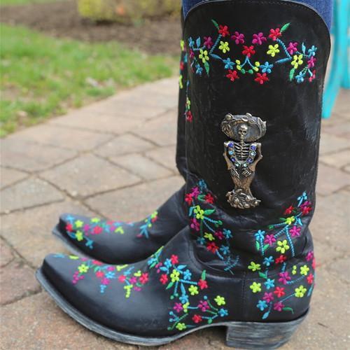 Flower Printed Chunky Heel Boots