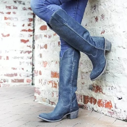 Vintage Point Toe Low Heel Boots