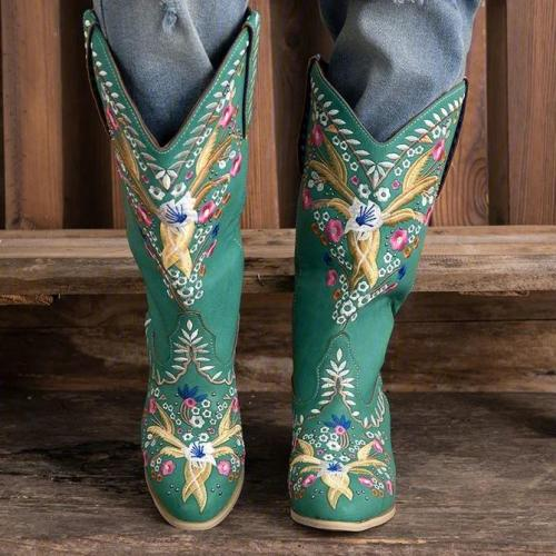 Green Block Heel Embroidery Fall Boots