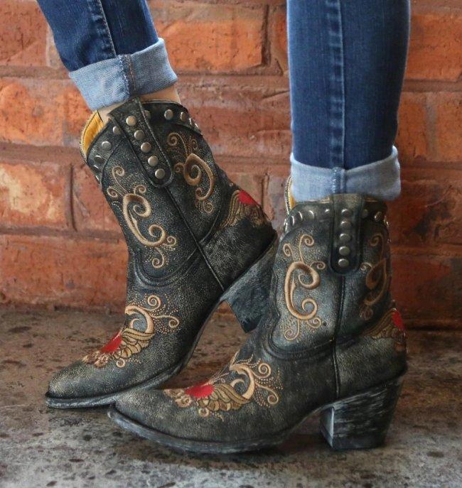 Black Side Rivet Ankle Boots