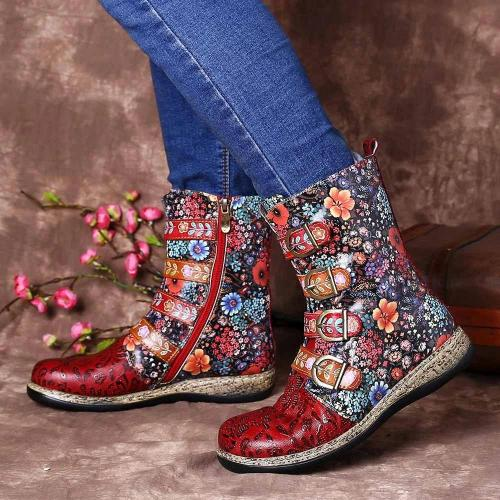 Red Flower Printed Buckle Flat Heel Boots