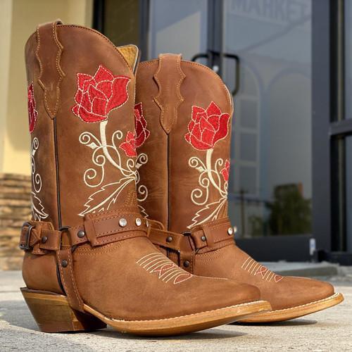 Women's Brown Natural Cowhide Boots
