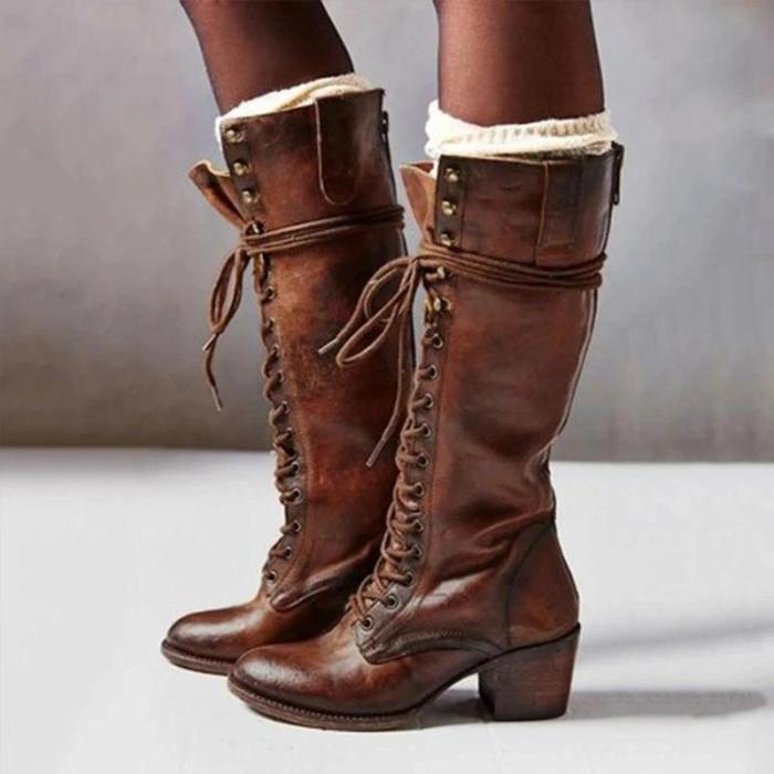 Retro Solid Color Lace-Up Long Boots