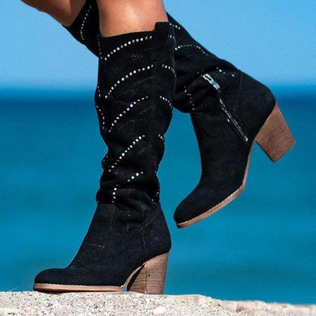 Women Winter Chunky Heel Rivet Boots