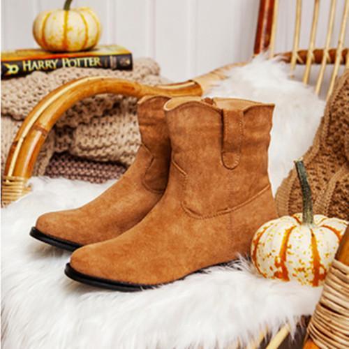 Womne Low Heel Suede Boots
