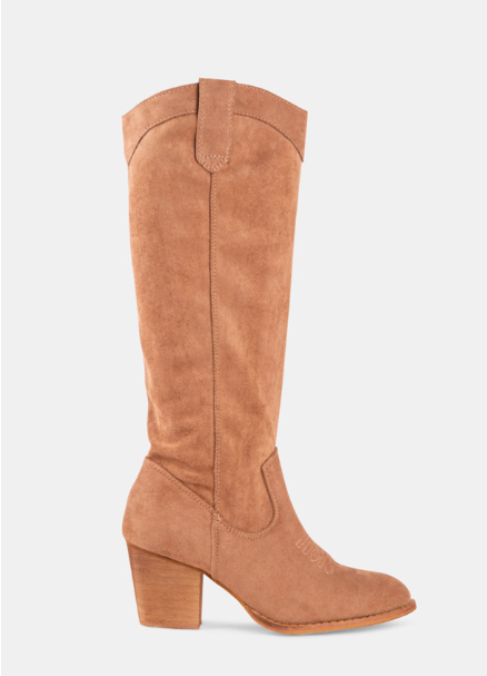Womne Long Calf Suede Chunky Heel Boots