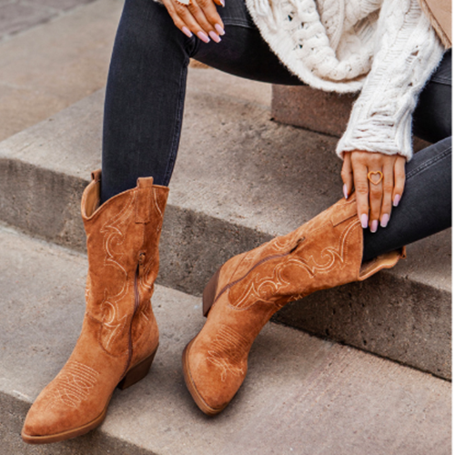 Square Toe Thread Simple Boots