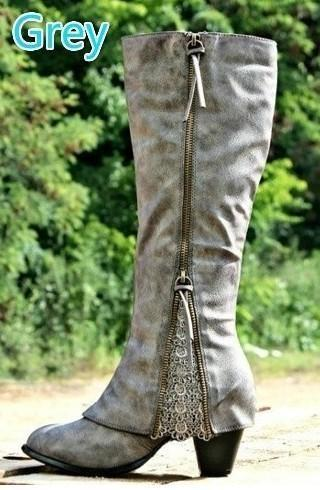 Winter Over Knee Boots Lace Chunky Heel Boots
