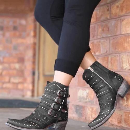 Fashion Women Rivet Buckle Plain Boots