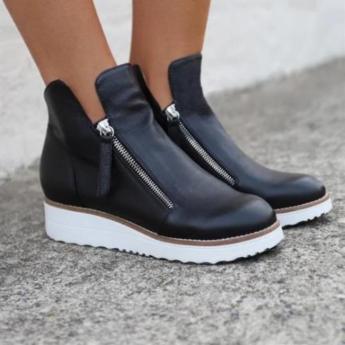 Big Size Pure Color Warm PU Lining Winter Ankle Boots