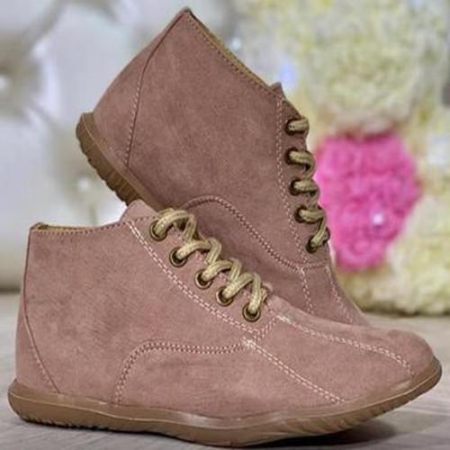 Women Lacing Flat Heel  Boots