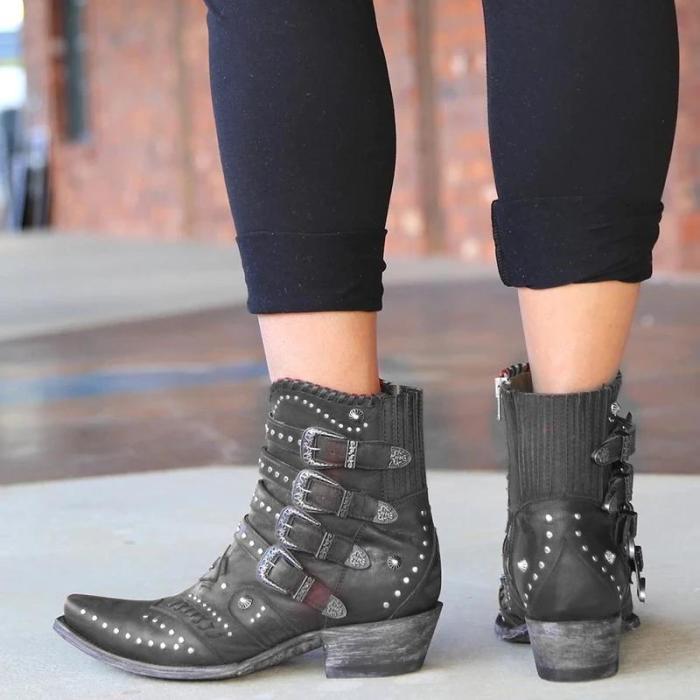 Fashion Women Rivet Buckle Plain Boots
