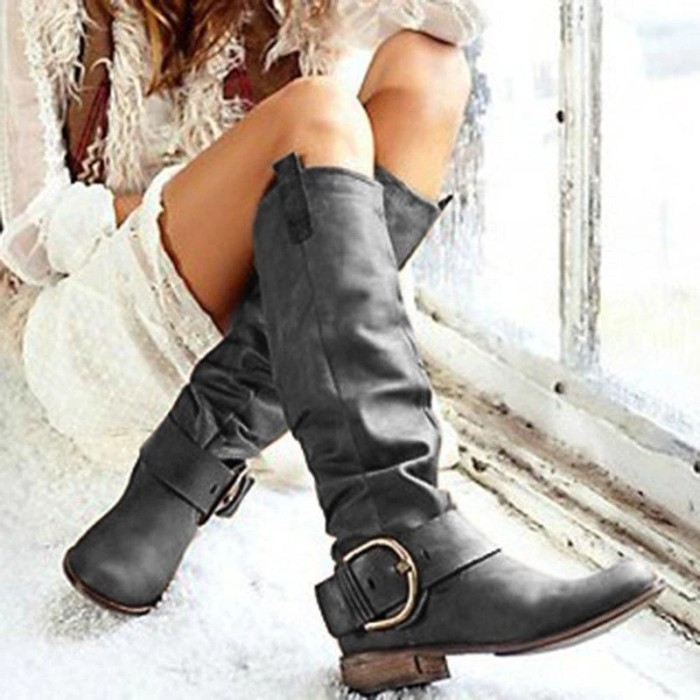 Casual Buckle Artificial Leather Round Toe Knee-High Long Boots
