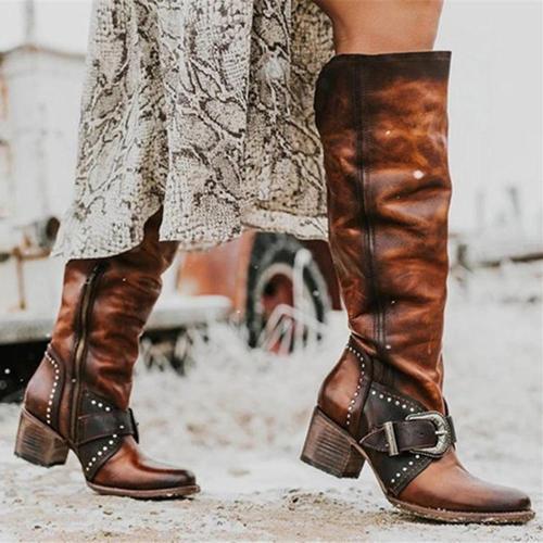 Retro Zipper Round Closed Knee Boots