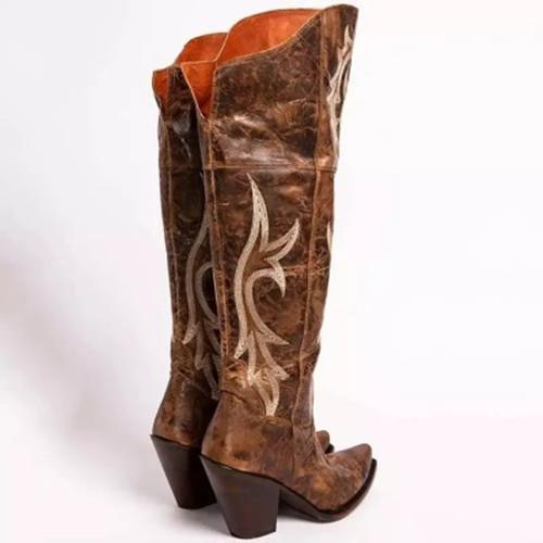 Womens Vintage Chunky Heel Artificial Leather Daily Boots