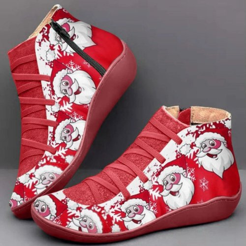 Casual  Printed Christmas Flat Martin Boots