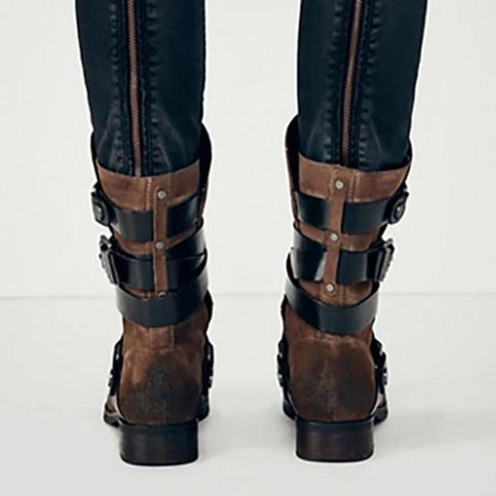 Plus Size Stylish Suede Chunky Heel Mid Boots