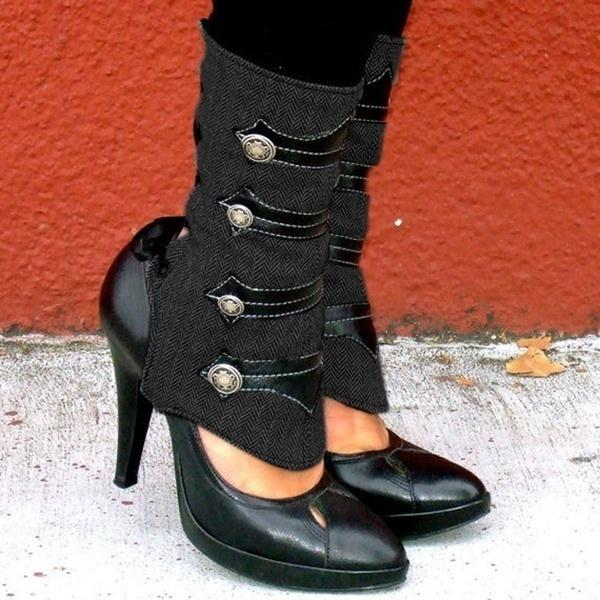 Women Buckle Chunky Heel Pointed Toe Boots