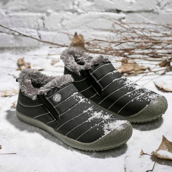 Womens Large Size Unisex Waterproof Fur Lining Slip On Snow Boots