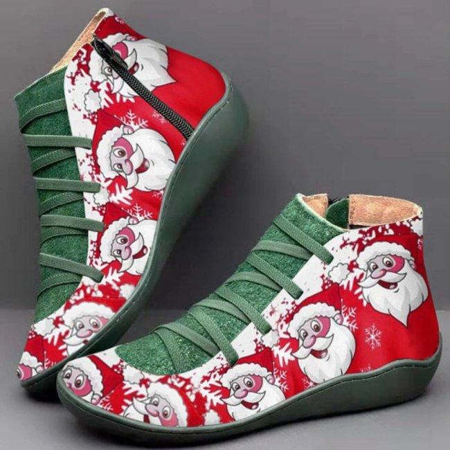 Casual  Printed Christmas Flat Martin Boots