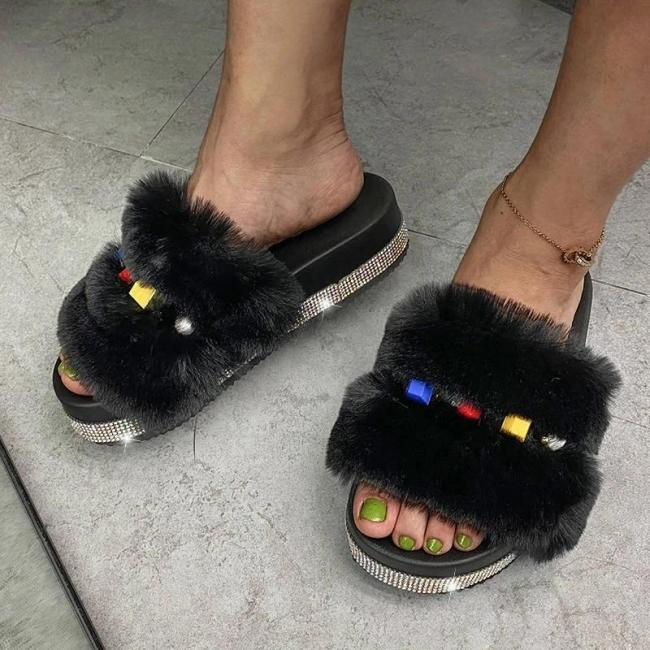 Women Trendy Fluffy Fur Colorful Rhinestones Open Toe Slip On Platform Slippers