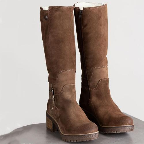 Women Waterproof Suede Zipper Boots