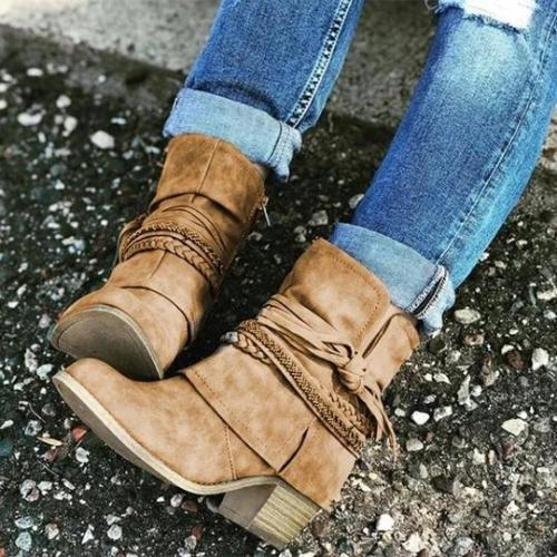 Holiday All Season Low Heel Ruched Boots