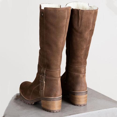 Women Waterproof Suede Zipper Boots
