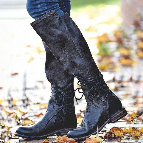 Women Back Zipper Vintage Boots Lace-Up Holiday Knee-High Boots