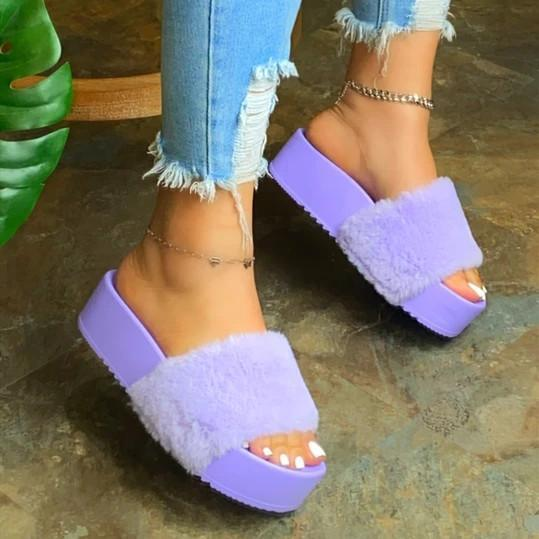 Women Comfy Fluffy Slip On Sandals