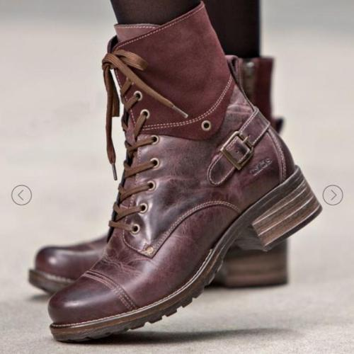Adjustable Buckle Chunky Heel Casual Boots