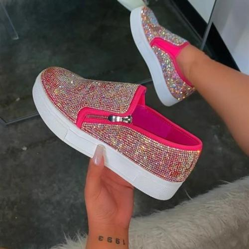 Women Casual Fashion Rhinestone Slip-on Loafers