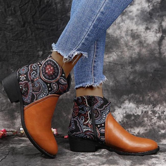 Women Stylish Characteristic Pattern Split Joint Mixed Colors Zipper Chunky Heel Boots