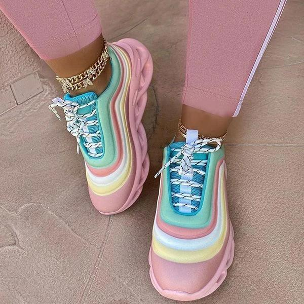 Women Fashion Rainbow Hit Color Stripe Lace Up Platform Sneakers