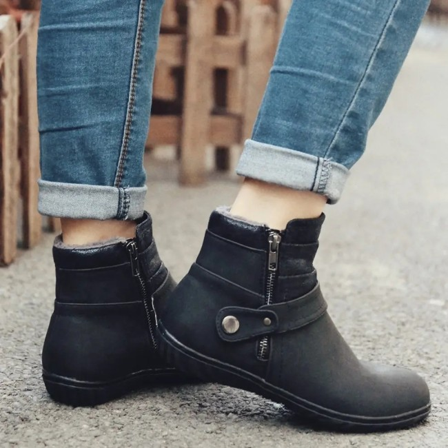 Warm Lining Splicing Non Slip Zipper Casual Flat Winter Ankle Boots