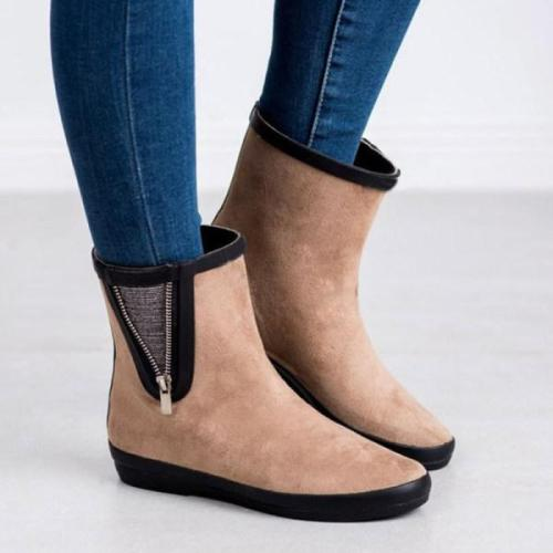 Women's flat side zipper ankle boots