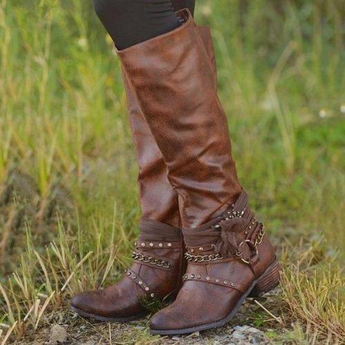 Women Vintage Booties Casual Zipper Boots