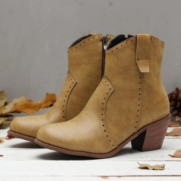 Women Casual Retro Pointed Toe Zipper Chunky Heel Ankle Boots