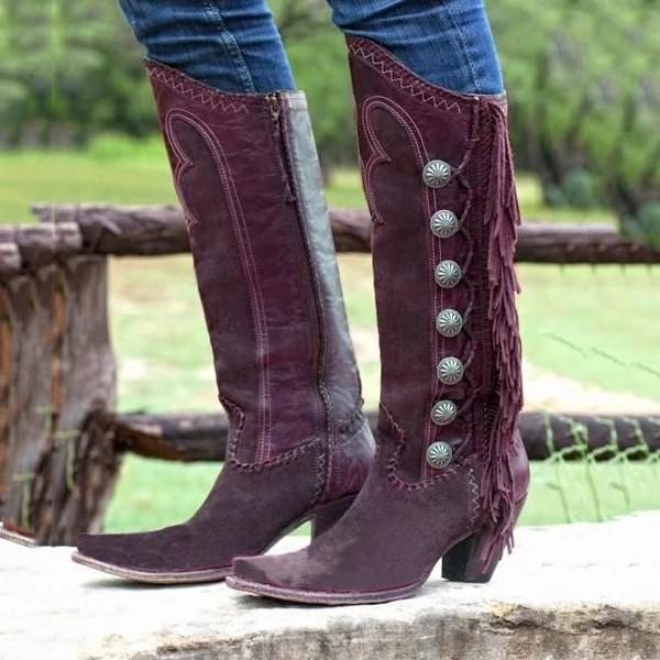 Women Side Tassel Chunky Boots
