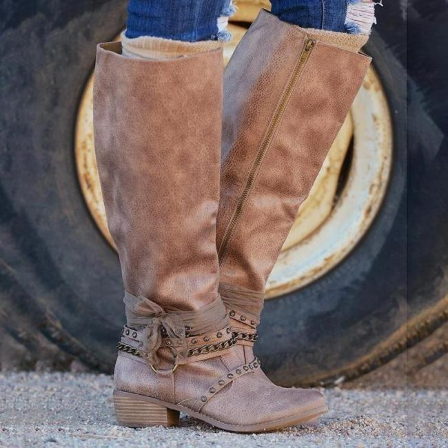 Women Vintage Booties Casual Zipper Boots