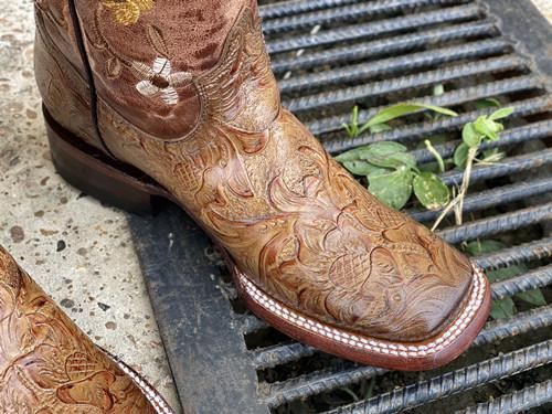 Brown Hand Tooled Boots